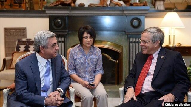 Armenia - President Serzh Sarkisian visits U.S. Ambassador John Heffern to cogratulate him on U.S. Independence Day, Yerevan, 4Jul2014.