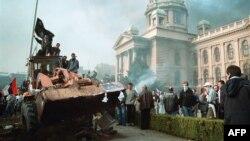 Dešavanja ispred Skupštine Srbije, 5. oktobar 2000.