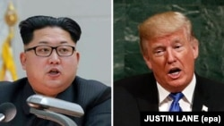 A combo file picture shows North Korean leader Kim Jong Un (left) and U.S. President Donald Trump (right)