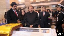 Venezuela -- Vice President Nicolas Maduro, Nicaraguan first lady Rosario Murillo, Nicaraguan President Daniel Ortega and Venezuelan Foreign Minister Elias Jaua during the funeral of President Hugo Chavez, in Caracas, 08Mar2013