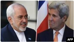 Eýranyň daşary işler ministri Jawad Zarif (çepde) we Birleşen Ştatlaryň döwlet sekretary Jon Kerri.