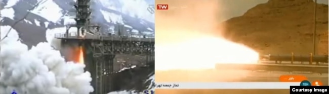 Liquid (left) and solid (right) rocket motor testing at Khojir. One of the few instances of ground imagery of Khojir published by Iran. Image: Iranian State Television.