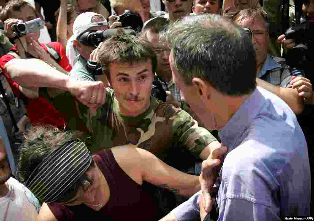 British rights activist Peter Tatchell in Moscow a moment away from being cracked in his right eye in 2007. Requests to hold gay-pride marches in the city in 2006 and 2007 were rejected by the authorities. When activists went ahead, they were attacked.