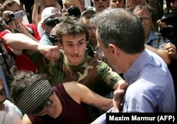 Tatchell (right) was attacked in Moscow in May 2007 during a gay-pride parade.