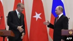 Төркия президенты Рәҗәп Эрдоган (с) һәм Русия президенты Владимир Путин