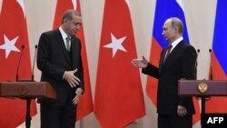 Президенты Турции и России Реджеп Тайип Эрдоган и Владимир Путин