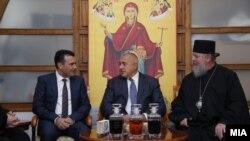 Архивска фотографија - премиерите на Македонија и на Бугарија Зоран Заев и Бојко Борисов и струмичкиот владика Наум