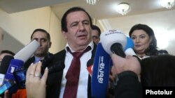 Armenia -- Prosperous Armenia Party leader Gagik Tsarukian speaks to reporters, Yerevan, February 11, 2020.