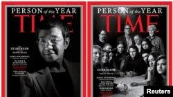 Две из четырех обложек Time с «Персонами года»: журналистами Captal Gazette (справа) и филиппинской журналистской Марией Ресса.