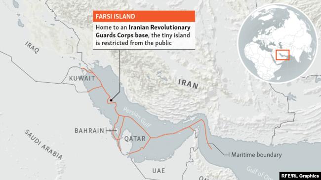 Infographic - Locator map Iran - Farsi Island