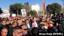 Protest političke opozicije u Tirani, januar 2018.