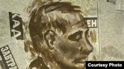 """""""Art Woýna"""" atly proýektiň çäginde çap edilen Putiniň şekili. Aprel, 2012."""