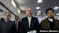 Former national security council adviser and current presidential candidate Mohammad Hanif Atmar, alongside his two vice-presidential candidates Younus Qanooni and Mohammad Mohaqiq in January