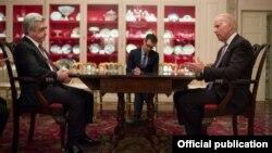 U.S. - U.S. Vice President Joe Biden meets with Armenian President Serzh Sarkisian in Washington, 31March, 2016