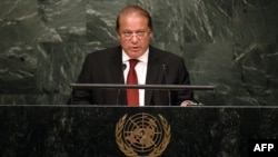 Pakistani Prime Minister Muhammad Nawaz Sharif addresses the 70th Session of the United Nations General Assembly at the UN in New York on September 30.