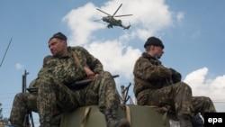 Украинские военнослужащие на окраине Краматорска