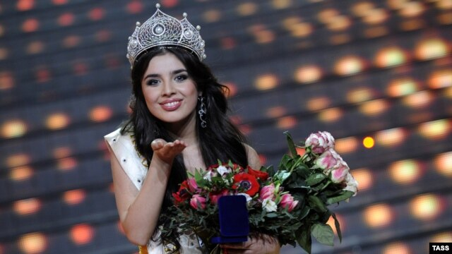 Eighteen-year-old Elmira Abdrazakova after being crowned Miss Russia 2013 in Moscow on March 2