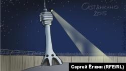 Protecting the Kremlin's propaganda hub -- barbed wire around Ostankino. (Cartoon by Sergei Elkin)