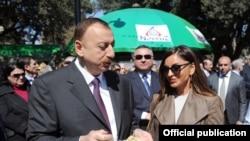 Azerbaijani President Ilham Aliyev with his wife Mehriban Aliyeva
