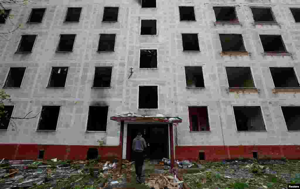 An emptied apartment block scheduled for demolition photographed on May 16. Looters are reportedly picking through some of the vacated apartments currently being knocked down.