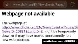 Türkmenistanda BMG-nyň Adam hukuklary boýunça baş komissarynyň resmi websaýty petiklendi, 22-nji noýabr, 2016.