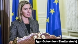 EU High Representative for Foreign Affairs Federica Mogherini in Kyiv in December