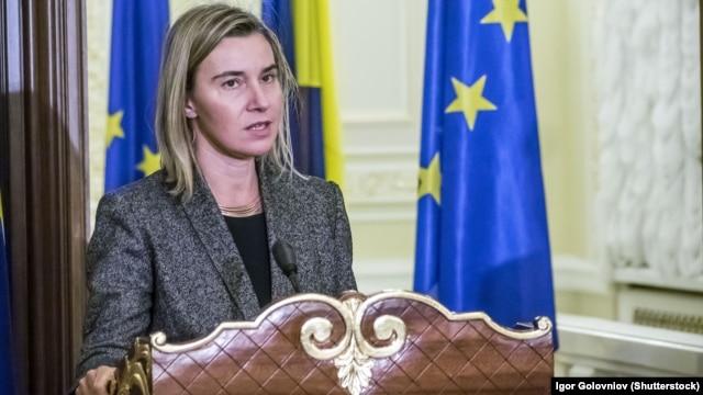 EU High Representative for Foreign Affairs Federica Mogherini in Kyiv in December