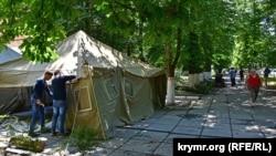 Установка протестной акции возле здания представительства президента Украины в АРК, 10 июля