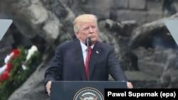 U.S. President Donald J. Trump gives a speech at Krasinski Square, Warsaw, Poland, 06 July 2017.