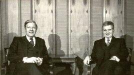 Helmut Schmidt alături de Nicolae Ceaușescu la București (Fototeca online a comunismului românesc)