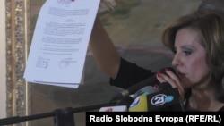 Министерката за култура Канческа-Милевска на прес-конференција објавува документи за истрагата на СЈО, Скопје 20.10.2016