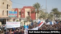 مشهد من المظاهرات المطلبية في الكوت