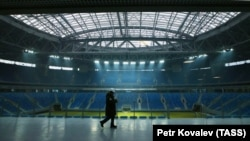 The newly constructed stadium for World Cup games in St. Petersburg