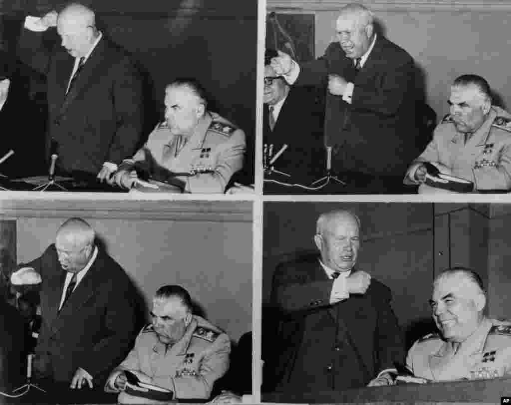 Радянський лідер Микита Хрущов трясе кулаком і вимагає вибачень від США на пресконференції 18 травня 1960 року в Парижі. Американський літак-розвідник був збитий приблизно за два тижні до зустрічі глав держав Сходу і Заходу у французькій столиці. Зустріч між Хрущовим, президентом США Дуайтом Ейзенхауером, президентом Франції Шарлем де Голлем і прем'єр-міністром Великої Британії Гарольдом Макмілланом зазнала краху і призвела до зростання напруженості в Холодній війні