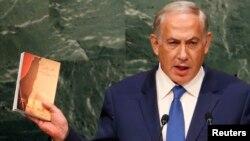 نخستوزیر اسرائیل در فرازی از سخنان خود، مجموعه سخنان رهبر ایران در مورد اسرائیل را سر دست برد.