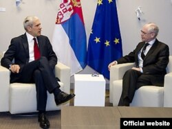 Boris Tadić prilikom susreta sa Hermanom Van Rompuyem u Briselu, 25. novembar 2011.