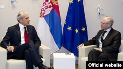 Presidenti i Këshillit Evropian, Herman van Rompuj, ka pritur presidentin e Serbisë, Boris Tadiq. Bruksel, 25 nëntor 2011.