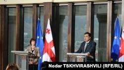 Пресс-конференция Кэтрин Эштон и Михаила Саакашвили в Тбилиси