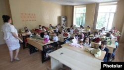 Armenia - First-grade students at a school in Yerevan on the first day of the academic year 2014-2015, 1Sep2014.