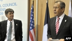 Greece -- US Deputy Secretary General James Steinberg listens as Russian Foreign Minister Sergei Lavrov (R) speaks at the 17th OSCE Ministerial council in Athens, 01Dec2009
