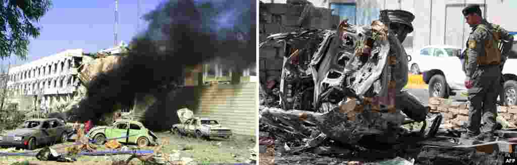 Left: A car burns outside the UN headquarters in eastern Baghdad after a huge explosion rocked the building n August 19, 2003, killing at least 22 people, including UN special representative for Iraq Sergio Vieira de Mello. Right: Baghdad on March 15, 2013, a day after militants staged an apparently unsuccessful assault. A coordinated string of bombings and an assault on the Justice Ministry killed 18 people, in the Iraqi capital's deadliest violence this month.