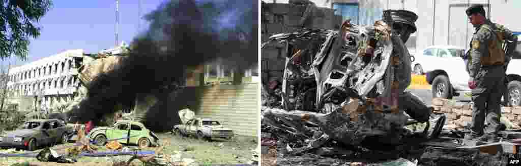 Ліворуч: Авто горить біля представництва ООН на сході Багдада, це – наслідок серії вибухів 19 серпня 2003 року, коли загинули 22 людини, зокрема, і спецпредставник ООН. Праворуч: Багдад 15 березня 2013 року, через день після того, як бойовики організували напад на будівлю Міністерства юстиції. Загинуло 18 людей, це – найкривавіша атака бойовиків у Багдаді за останній місяць.