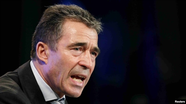 NATO Secretary-General Anders Fogh Rasmussen at a news conference in Brussels on May 11