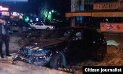 """Автомобиль Максата Усенова, на котором он совершил дорожное происшествие. Фото из сети """"ВКонтакте""""."""