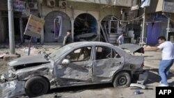 احدى السيارات المفخخة التي استهدفت احد احياء مدينة الرمادي (من الارشيف)
