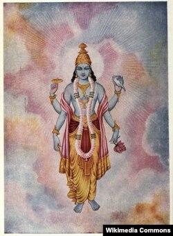 Изображение бога Вишну, очевидно, благоволящего космическим исследованиям своих почитаталей