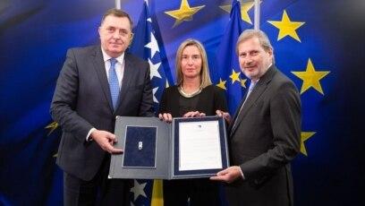 Milorad Dodik, Federika Mogerini i Johanes Han, Brisel, 4. mart 2019.