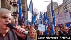 Nenad Čanak na protestu u Beogradu
