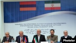 Armenia - Artashes Tumanian (L), the Armenian ambassador to Iran, attends a session in Yerevan of the Iranian-Armenian commission on economic cooperation, 23Dec2015.