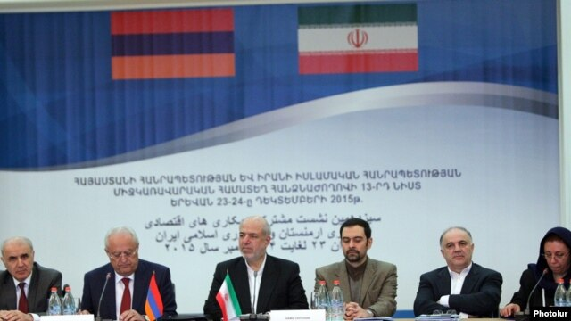Armenia - Energy Minister Yervand Zakharian and his Iranian counterpart Hamid Chitchian chair a session of the Iranian-Armenian commission on economic cooperation, Yerevan, 23Dec2015.